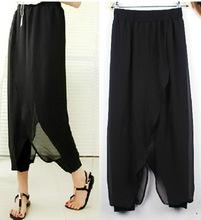 Fashion plus size faux two piece trousers patchwork chiffon bloomers loose women harem pants XXL,XXXL,XXXXL,4XL,5XL,6XL  (A1904)(China (Mainland))