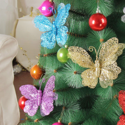 Christmas decorating supplies 20cm hollow butterfly decoration dusted with sequins Christmas tree cuttings butterfly pendant 12g(China (Mainland))