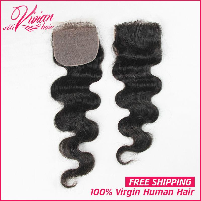 7A Peruvian Silk Base Closure Peruvian Body Wave Silk Top Closure Free Middle Three Side part Closure Human Virgin Hair Shiping(China (Mainland))