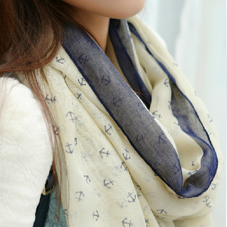 2015 New Fashion women winter and autumn scarves Anchor print voile scarf bufandas brand big size soft woman scarf shawl(China (Mainland))