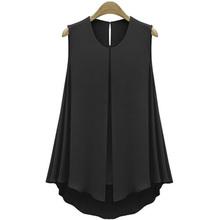 NEW Shirt Tops Blue&Apricot Black&Red Blouse Blusas 2016 Summer Style Shirt Women Tops Sleeveless O-neck Summer Shirt #10(China (Mainland))