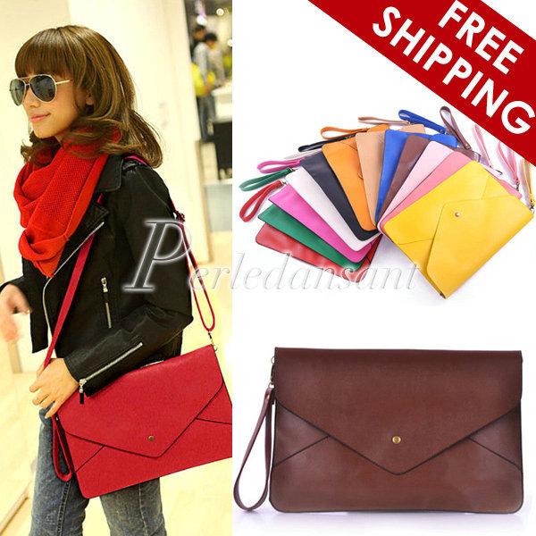 Women Lady's Fashion Envelope Clutch Messenger Cross Body Chain Purse HandBag Shoulder Hand Tote Bag PU Leather BG0001(China (Mainland))