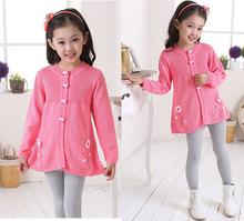 2015 Child Girls Sweatshirts Autumn pink/yellow  Color Cute baby girls Children T shirt Tops(China (Mainland))