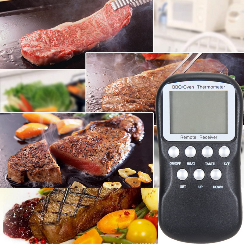 2016 New Digital Wireless Remote Kitchen Oven Food Cooking/BBQ Grill Smoker Meat Thermometer With Sensor Probe Temperature(China (Mainland))