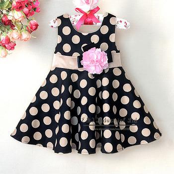 Christmas Princess Dresses For Childrens Black Dot Folower Girl Dresses Discounts Kids Clothes 6PCS/LOT GD21008-07^^EI