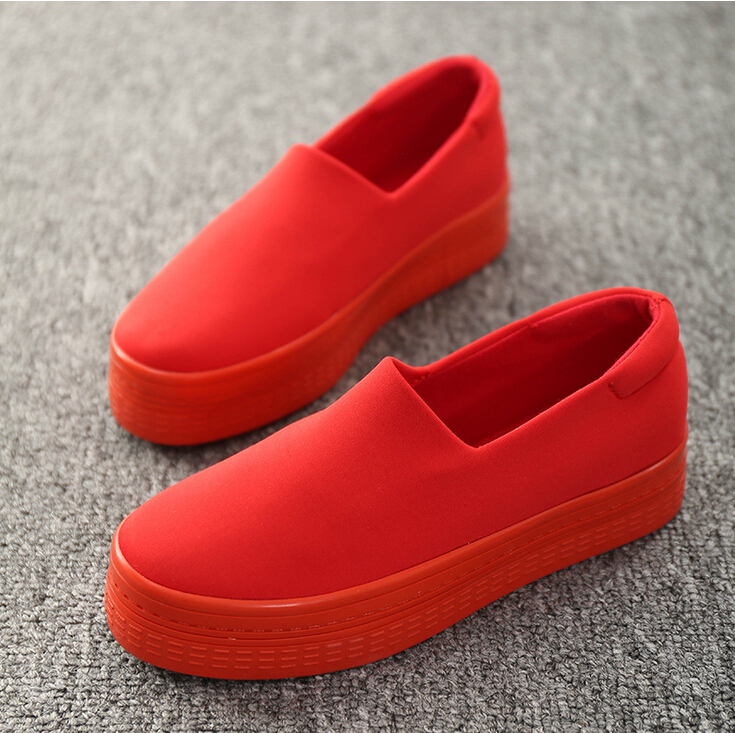 2015 new muffin heavy bottomed shallow mouth of canvas shoes women shoes casual shoes a pedal
