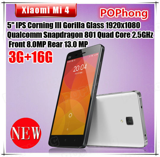 Stock Black Color Xiaomi Mi4 M4 3GB RAM LTE Quad Core Cell Phone 64GB ROM 5.0 inch Snapdragon801 Android 4.4 13MP(China (Mainland))