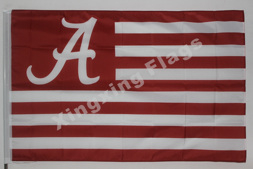 Alabama Crimson Tide With Modified US Flag 3ft X 5ft Polyester NCAA Alabama Crimson Tide Banner Flying Size No.4 144* 9(China (Mainland))