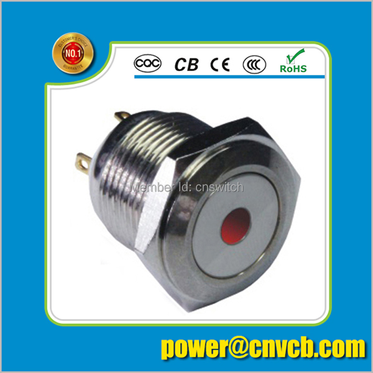 16mm Flat round head momentary pin terminal dot lamp sealed push button switch(China (Mainland))