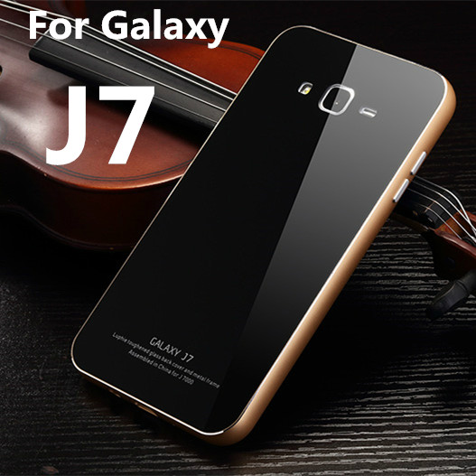 Luphie Aluminum case for Samsung galaxy J7 case Luxury glass back cover For Samsung J7 Protective Phone shell Free shipping