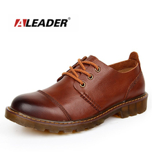 Aleader Men Leather Shoes Casual New 2016 Genuine Leather Shoes Men Oxford Fashion Lace Up Dress Shoes Outdoor Work Shoe Sapatos(China (Mainland))