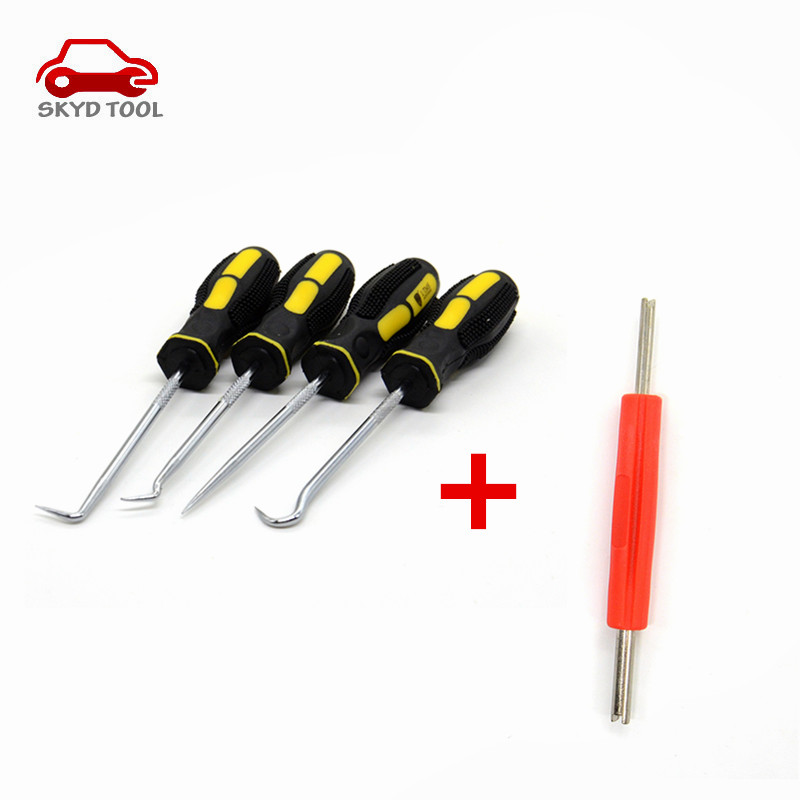 Car Automotive Extra Long Hook And Pick Set O-Ring Seal Remover Craft Hobby Tool+Valve Core Wrench Tyre Valve Core Removal Tool(China (Mainland))