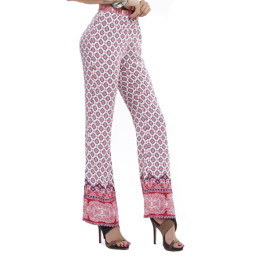2015 Fashion European Flower Pants Plus Size Straight Classic Trousers Women Printed Casual Pants Lounge Pants Pantalon Femme(China (Mainland))