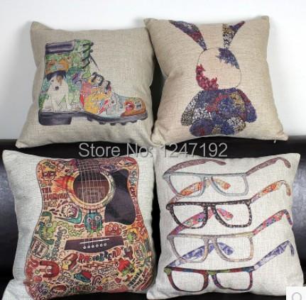 45x45cm colorful shoe/guitar/rabbit/glasses design cotton linen sofa cushion cover sleeping pad cushions pillow case(China (Mainland))