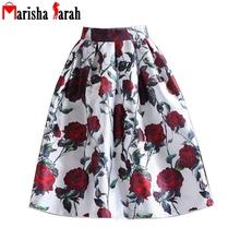 2016 Women Rose Pattern Print Fashion Pleated Skirt Summer Autumn Mid-Calf Length High Waist Ball Tutu Skate Skirt Saia