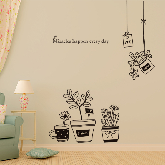 Removable wall stickers bedroom living room window balcony flower shop painted decorative potted flower wall sticker(China (Mainland))