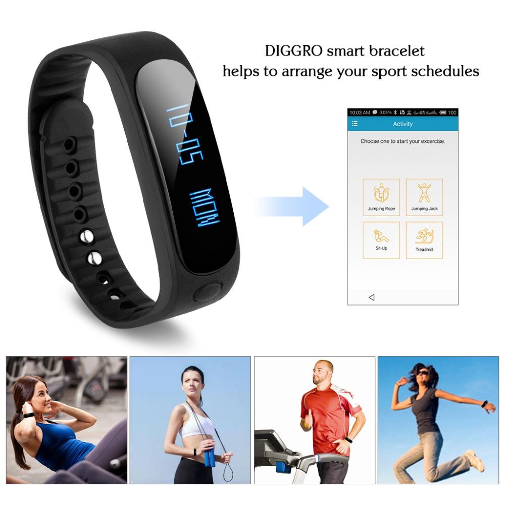 Diggro SW19 Smart Health Bracelet Fitness Bluetooth 4.0 Waterproof IP67 Pedometer Sleep Calories Tracker for Android & ios Phone