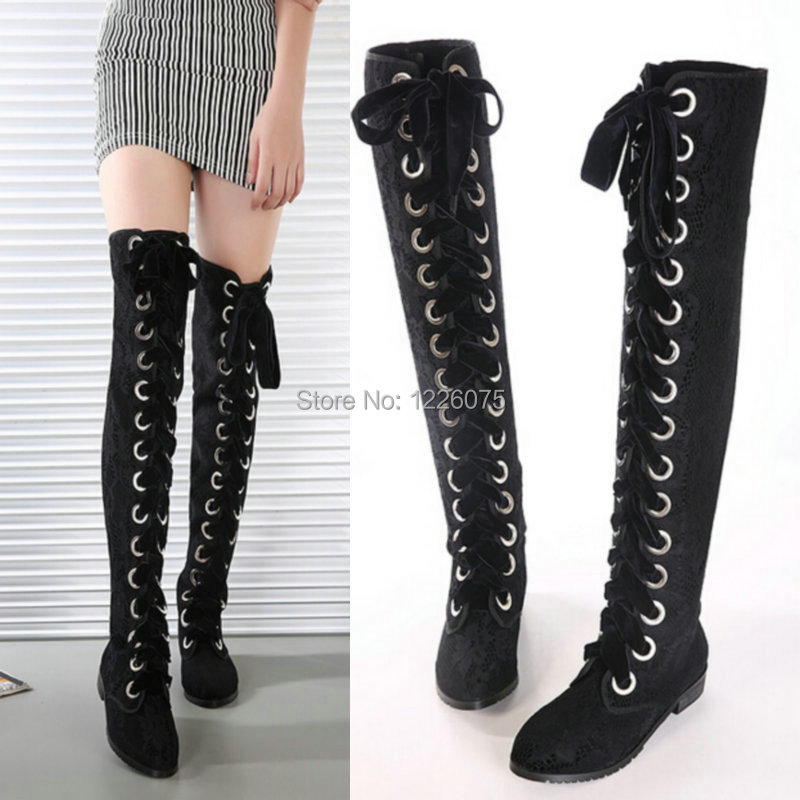 womens lace up the knee thigh high flat heel