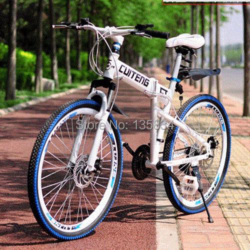 21 Speed Folding Mountain Bike Folding bicycle Full Shocking proof 26 Mountain Bicycle Double Disc Brake System 60 spokes tires<br>