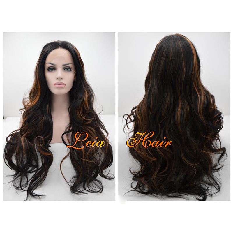 Long Black Wig Wavy Synthetic Lace Front Wig Heat Resistant Cheap Kanekalon Hair Highlight Trends Glueless Mixed Brown Black Wig(China (Mainland))
