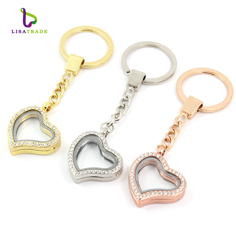 10PCS !! 30mm Heart magnetic glass locket keychains floating charm locket 3 Colors can choose Zinc Alloy+Rhinestone LSFK03*10(China (Mainland))