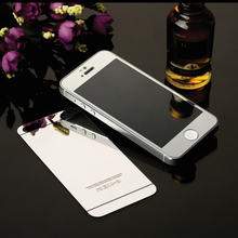 Hot Sale 2pcs Front+Back Mirror Colorful Tempered Glass Protective Film For iPhone 5 5s Full Cover Screen Protector