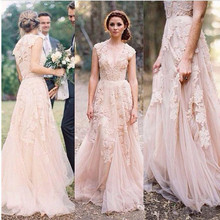 Vintage 2016 Lace Wedding Dresses Champagne V-Neck Appliques Ruffles Cap Sleeve Bridal Gowns W33(China (Mainland))