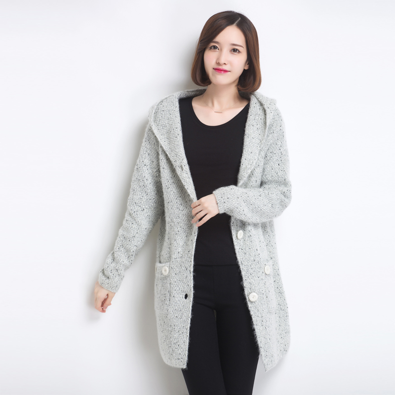 2015 new fall womens wool winter long coats loose large size section female wild pure cashmere cardigan women coat