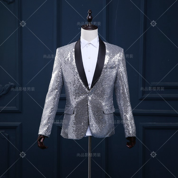2016 silver men blazer jacket outwear male clothes singer dancer perforamance sequin dress prom ds party show bar nightclub(China (Mainland))