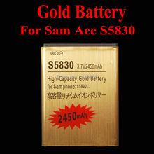 1 шт. высокая емкость 2450 мАч золото аккумулятор для Samsung Ace GTS5830 S5830 EB494358VU