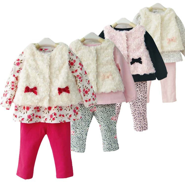 LittleSpring Retail 3pcs baby sets new 2014 fashion brand Girls flower baby clothes bow suits baby girl suit clothing sets(China (Mainland))