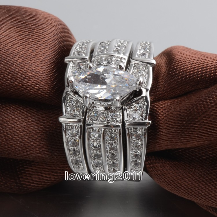 Victoria Wieck Nice Lovers Marquise Cut Topaz Simulated diamond 14KT White Gold GF 3 Wedding Band Ring Set Sz 5-11 Free shipping(China (Mainland))