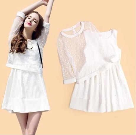 Vestido, en europa y en la estrella fan bingbing gasa blanca con encaje blanco smocks dos piezas pequeño dulce viento(China (Mainland))