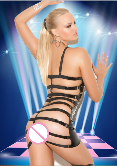 New PU Leather Sexy Hollow Out Night Club Mini Dress 2017 Women Erotic Babydoll Lingerie Black Bandage Pole Dance Costume S11475