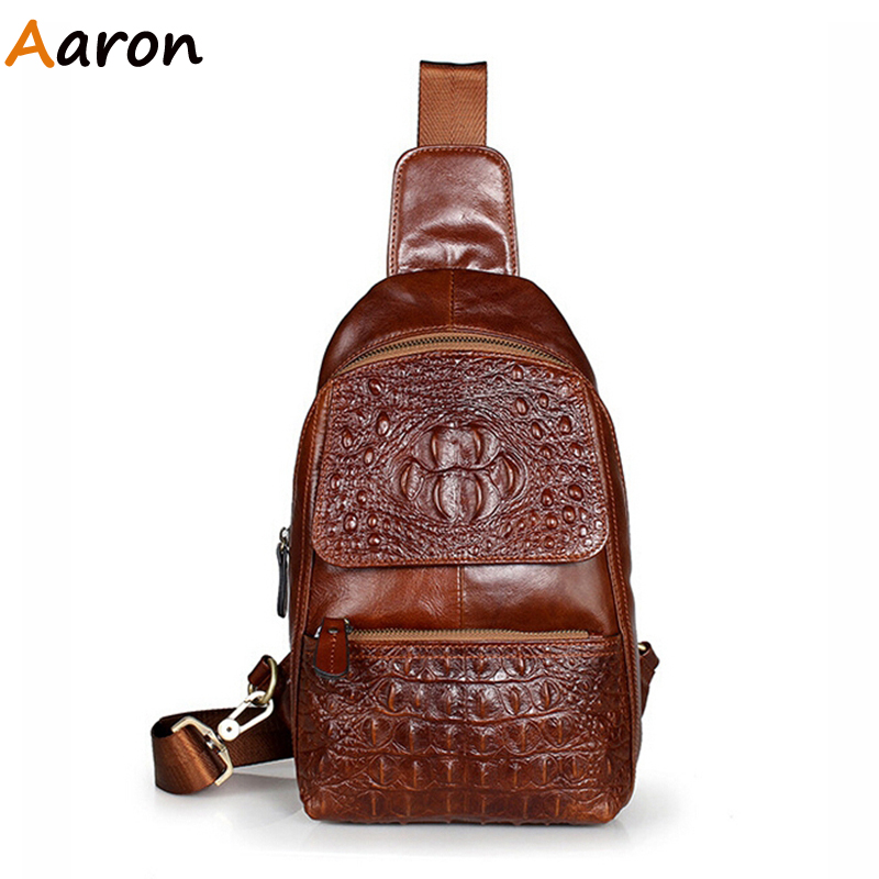 Aaron - Retro Crocodile Alligator Genuine Leather Men Chest Bag,Luxury Male Cross-body/Messenger Sling Bolsos For Travel Hiking