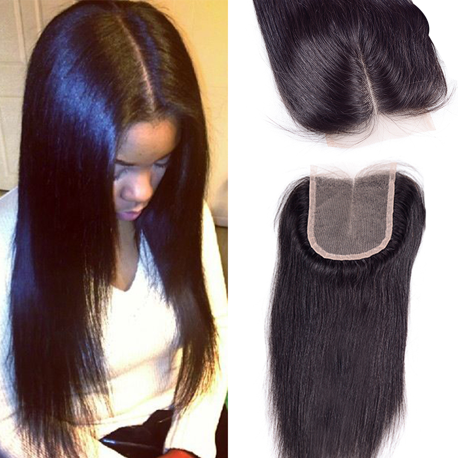 "Unprocessed7A Virgin Hair Lace Closure 4""x4"" Malaysian ..."