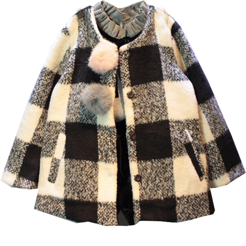 children clothing new 2016 fall kids jackets girls plaid thicken coat children winter outwear(China (Mainland))