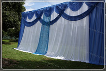 3X6M White Wedding Backdrop with Blue Swag