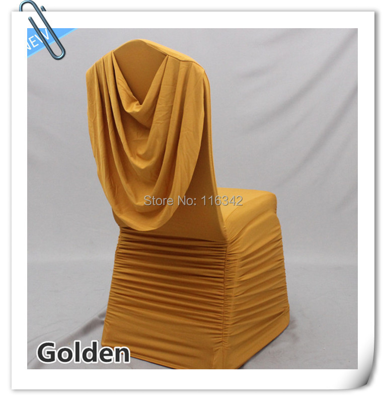 WHOLESALE 100pcs Spandex Ruffled Chair Cover With Swag For Wedding FREE SHIPPING(China (Mainland))