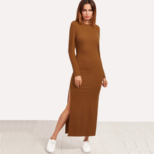 Dotfashion High Slit Ribbed Casual Dress 2017 Autumn Brown Long Sleeve Long Dress Female Round Neck Sheath Plain Dress(China)