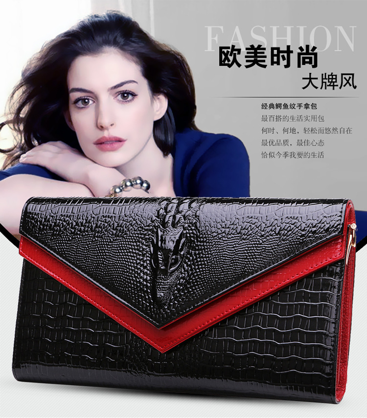 Women long wallet genuine leather purse female famous luxury clutch brand wallets new 2015 fashion Embossing bags(China (Mainland))