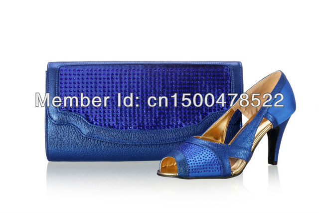 Free shipping!New arrival royal blue Italian matching shoes and bags,ladies shoes,PU  Material pumps shoes,size 38-42,SB8754