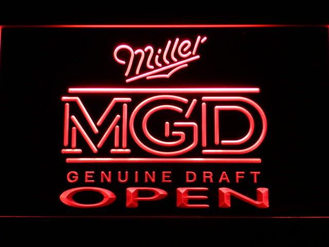 056-r Miller MGD Beer OPEN Bar LED Neon Light Sign(China (Mainland))