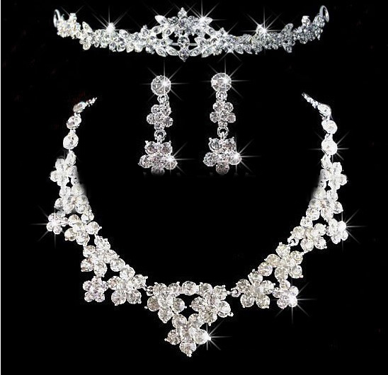 New Fashion Top Quality Crystal Flower Bridal Jewelry sets Charm Silver Wedding jewelry sets for Bride Dress Accessories