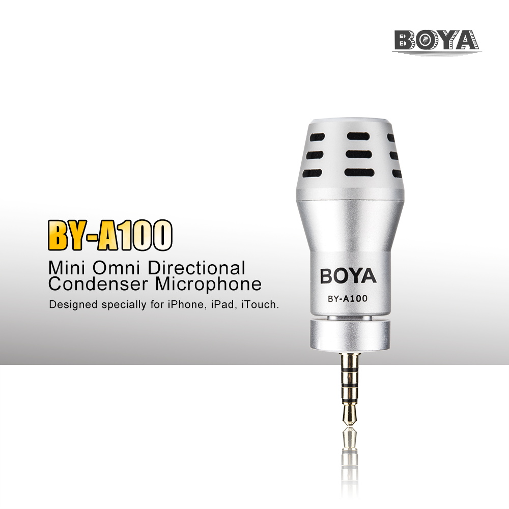 Original BOYA BY-A100 Mini Omni Directional Condenser Microphone for Iphone 6 6S 6 Plus 5S iPod Touch P0026581(China (Mainland))