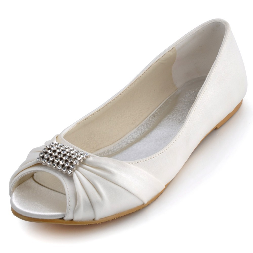 EP2053 White Ivory Women Formal Comfortable Bridal Party Peep Toe Flats Pleat Satin Rhinestones