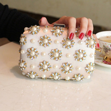 new 2016 pearl and diamond package Evening bag The bride package The dress package The party hand bag Woman bag free shipping(China (Mainland))