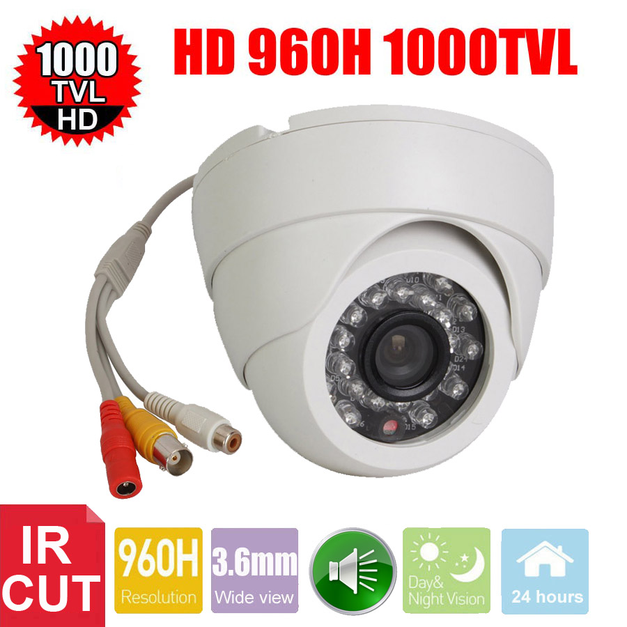 Vanxse CCTV 1/3 CMOS 1000TVL 24LEDs IR-CUT D/N Indoor Dome Audio Security Camera Microphone Surveillance Camera