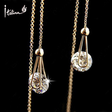 2016 Italina Long Earrings CZ Diamond Jewelry 18K Gold Plated Crystals Stud Earring for Women Wedding Party Classic Jewelry(China (Mainland))