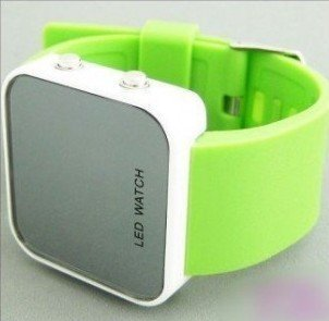 wholesale! NEW Fashion Boy Girls ODM jelly green Watch, ODM Mirror LED watches Digital watches FREE shipping